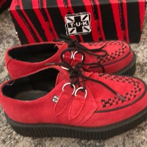T.U.K. Red suede creepers